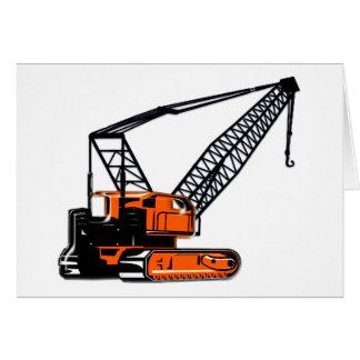 Grúa de construcción anaranjada tarjetón