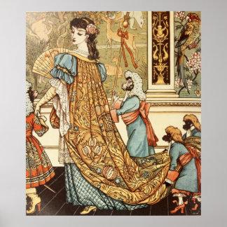 Grúa de Gualterio, belleza y la bestia, 1875 Póster