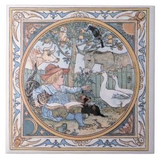 Grúa de Gualterio del vintage: El niño, los animal Azulejo Cuadrado Grande