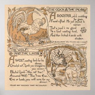 Grúa de Gualterio del vintage: Gallo y lobo y cord Póster