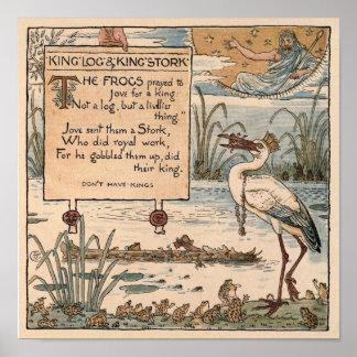 Grúa de Gualterio del vintage: Registro del rey y  Poster