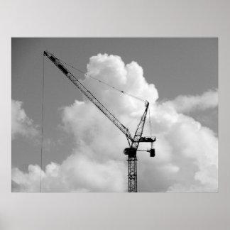Grúa de la cumulonimbus - blanco y negro póster