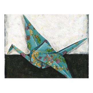 Grúa de Origami con diseños florales Postal