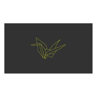 Grúa de Origami en el amarillo de neón en gris Tarjetas De Visita