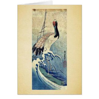Grúa en ondas por Ando, Hiroshige Uiyoe. Tarjeta De Felicitación