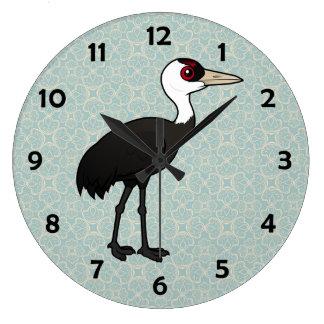 Grúa encapuchada de Birdorable Relojes De Pared