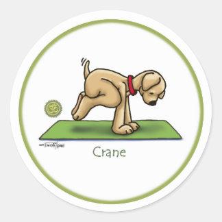 Grúa - pegatinas de la yoga pegatina redonda