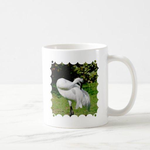 Grúa que chilla taza básica blanca