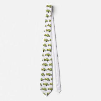 Grúa verde del plano del dibujo animado corbatas personalizadas