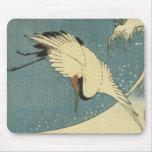 Grúa y onda, Hiroshige Mousepad Tapete De Ratones