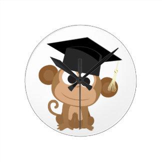Gruaduation Monkey Round Clock