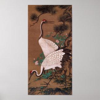Grúas, bella arte del japonés de Watanabe Shuseki Póster