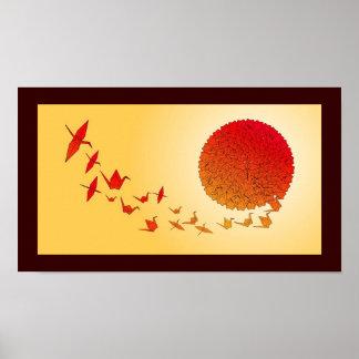 Grúas de papel que forman en el sun. de levantamie póster