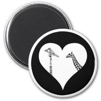 Grúas del amor de las jirafas imán redondo 5 cm