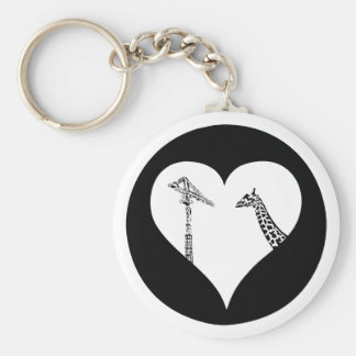 Grúas del amor de las jirafas llavero