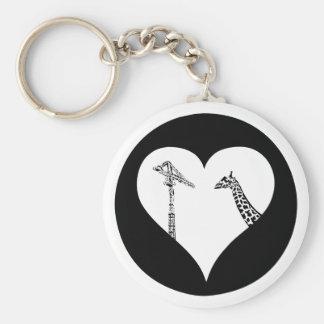 Grúas del amor de las jirafas llavero personalizado