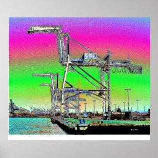 Grúas del puerto póster