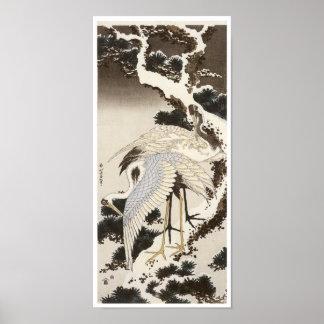 Grúas en un árbol de pino, Hokusai, 1832 Póster