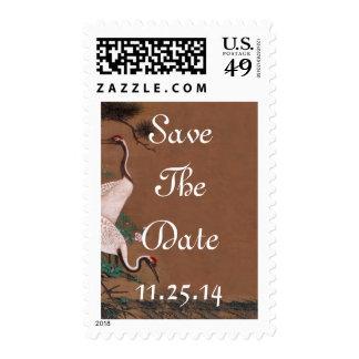 Grúas japonesas del vintage que casan invitaciones sellos