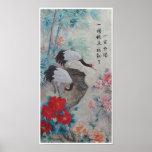 Grúas y bambú chinos con cita poster
