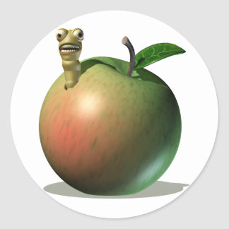 Grub Eating Apple Classic Round Sticker