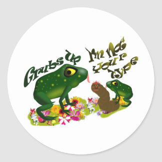 Grubs up classic round sticker