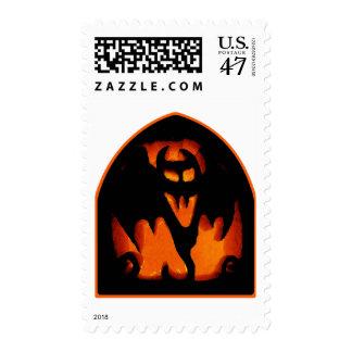 Gruesome Halloween Pumpkin Bat Silhouette Postage
