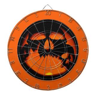 Gruesome Halloween Pumpkin Skull Silhouette Dart Board
