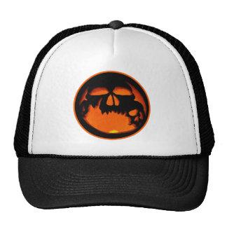 Gruesome Halloween Pumpkin Skull Silhouette Mesh Hat