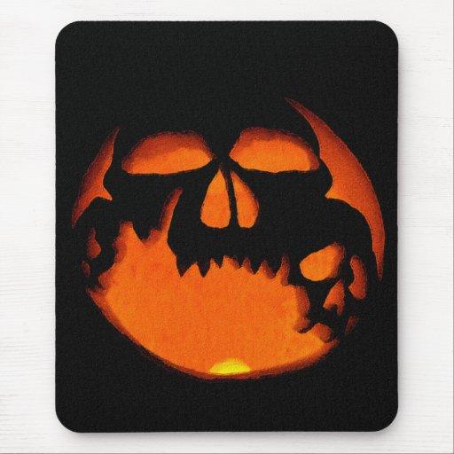 Gruesome Halloween Pumpkin Skull Silhouette Mouse PadHalloween Skull Silhouette