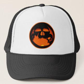 Gruesome Halloween Pumpkin Skull Silhouette Trucker Hat