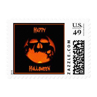 Gruesome Halloween Pumpkin Skulls Silhouette Postage