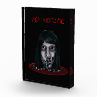 Gruesome Head On Platter Halloween Costume Acrylic Award