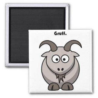 Gruff Gray Goat Cartoon 2 Inch Square Magnet