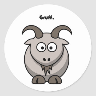 Gruff Gray Goat Cartoon Classic Round Sticker