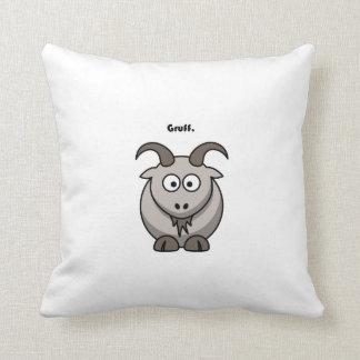 Gruff Gray Goat Cartoon Throw Pillow
