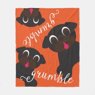 Grumble, Grumble Black Pugs Fleece Blanket Orange