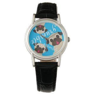 Grumble Grumble Fawn Pugs on Blue Wrist Watch