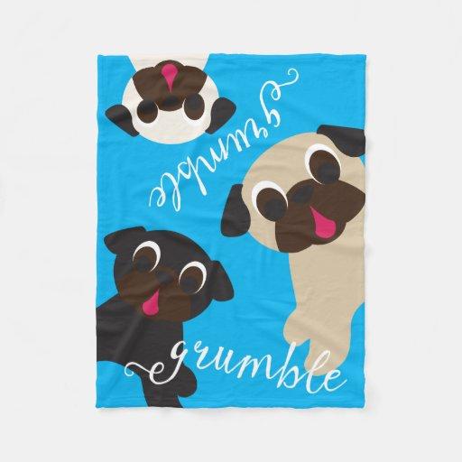 Grumble Grumble Pug Fleece Throw Blanket Zazzle