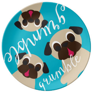 Grumble, Grumble Pug Plate - 3 Fawn Porcelain Plates