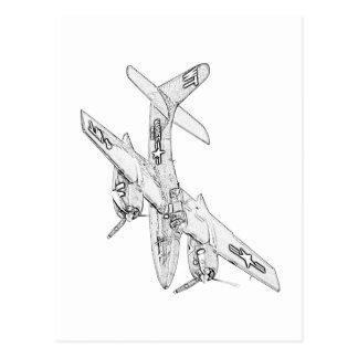 Grumman F7F Tigercat Airplane Postcards
