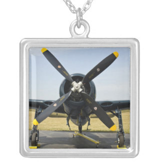 Grumman F8F Bearcat Navy Carrier Fighter on the Square Pendant Necklace