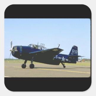 Grumman TBM Avenger, Left Front_WWII Planes Square Sticker