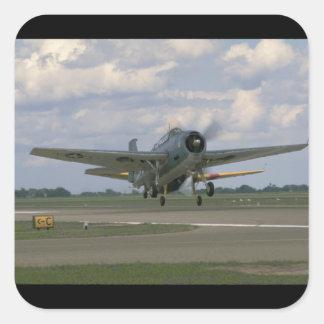 Grumman TBM Avenger, Taking Off_WWII Planes Square Sticker