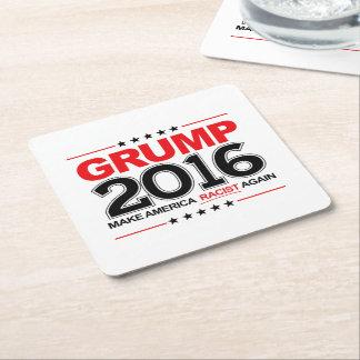GRUMP 2016 - Make America Racist Again Square Paper Coaster