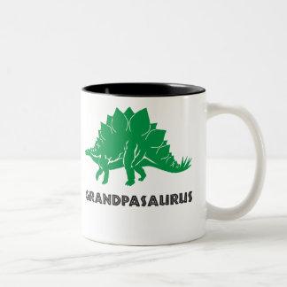 Grumpasaurus Stegosaurus dinosaur, grandad, papa Two-Tone Coffee Mug