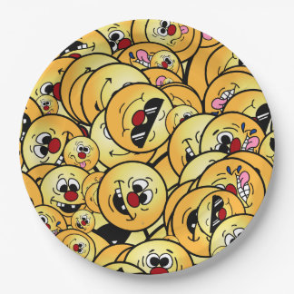 Grumpeys Silly Smiley Faces Set Paper Plate