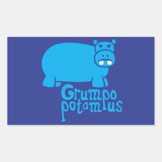 Grumpopotamus Rectangular Pegatina