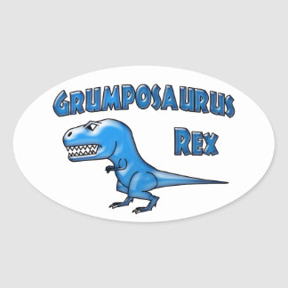 Grumposaurus 2015 Blue Glass Oval Stickers