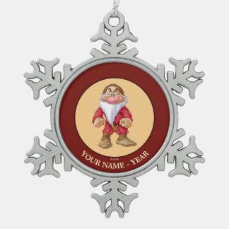Grumpy 5 snowflake pewter christmas ornament